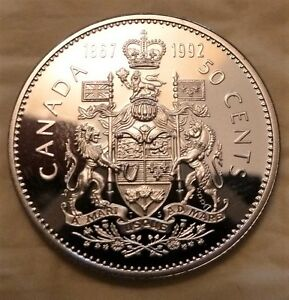 GEM   CDN   1867  1992 FROSTED PROOF  DOUBLE DATE 50 CENT
