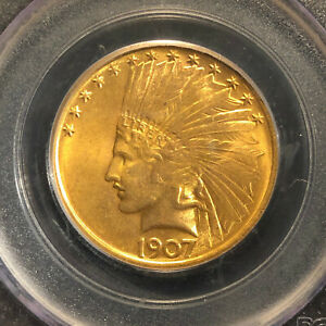 Click now to see the BUY IT NOW Price! US GOLD 1907 $10 NO MOTTO PCGS MS65 TEN DOLLAR GOLD MINT STATE