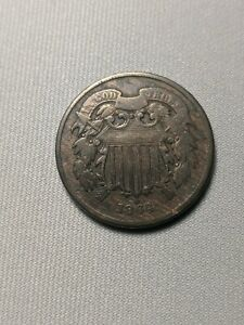 1864 TWO CENT LARGE MOTTO WOODY