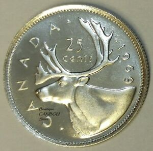 1969 CANADA PROOF LIKE 25 CENTS