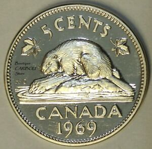 1969 CANADA PROOF LIKE 5 CENTS