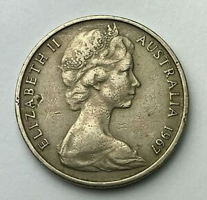DATED : 1967   AUSTRALIA   TWENTY CENTS   20 CENT COIN   QUEEN ELIZABETH II