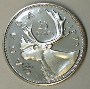1972 CANADA PROOF LIKE 25 CENTS