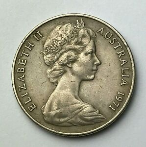 DATED : 1971   AUSTRALIA   TWENTY CENTS   20 CENT COIN   QUEEN ELIZABETH II