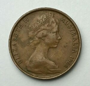 DATED : 1968   AUSTRALIA   TWO CENTS   2 CENT COIN   QUEEN ELIZABETH II