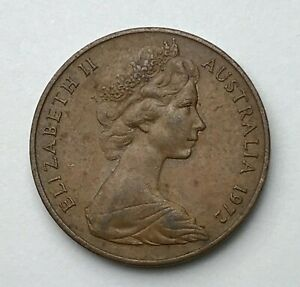 DATED : 1972   AUSTRALIA   TWO CENTS   2 CENT COIN   QUEEN ELIZABETH II
