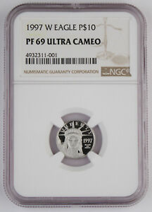 1997 W $10 1/10 OZ PLATINUM AMERICAN EAGLE PROOF COIN NGC PF69 ULTRA CAMEO