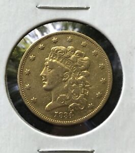1834 $5 GOLD CLASSIC HEAD HALF EAGLE   XF DETAILS CLEANED BUT RETONED   NICE