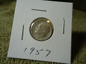 1957   // CIR. // ROOSEVELT  DIME // ADDED  ITEMS  SHIP FREE  //  A 21