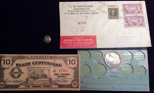 Click now to see the BUY IT NOW Price! 1936 COMMEMORATIVE HALF DOLLAR ELGIN WITH ORIGINAL PAPERWORK/ENVELOPE/PIN/CARD