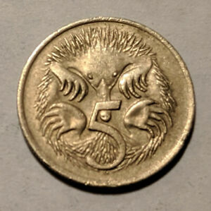 AUSTRALIA 5 CENTS 1975 KM 64 ECHIDNA OR SPINY ANT EATERS 6/5