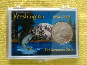 2007  P. WASHINGTON STATE QUARTER FROM M. ROLL. W/ A PROACTIVE CASE   FREE GIFT