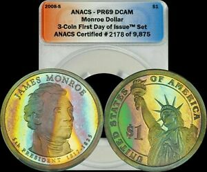 Click now to see the BUY IT NOW Price! 2008 S JAMES MONROE DOLLAR ANACS   PR69 DCAM RAINBOW RED/BLUE/GREEN/YELLOW TONED