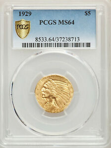 Click now to see the BUY IT NOW Price!  KEY DATE 1929 $5 INDIAN HEAD PCGS MS64 PHILADELPHIA INDIAN GOLD HALF EAGLE