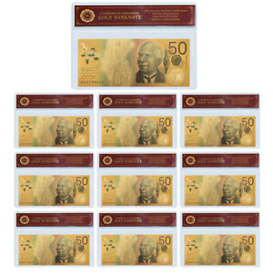 10X 50 AUSTRALIAN DOLLAR COLOR BANKNOTE W/PVC FRAME SET BUSINESS COLLECTION GIFT