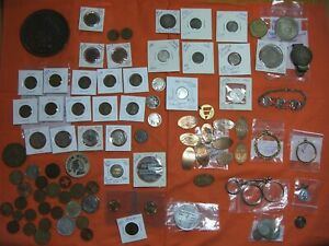 97 COIN TOKEN COLLECTION US FOREIGN SILVER TOKENS 1877 INDIAN HEAD ERROR LINCOLN