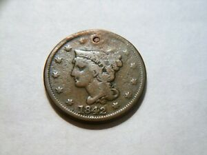 WOW  1842 BRAIDED HAIR LARGE CENT  NICE  LOW PRICED  COIN CAN USE AS A FILLER