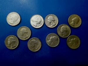 USA COIN LOT OF QUARTER OF DOLLAR 1965   1993 10PCS  T2155