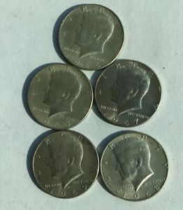1965 66 67 68AND1969 KENNEDY HALF DOLLARS 40   SILVER557