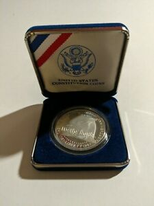 1987 UNITED STATES CONSTITUTION $1 S PROOF SILVER DOLLAR COIN W/ COA & BOX