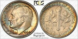 1964 ROOSEVELT DIME PCGS GENUINE CLEANING AU DETAILS COLOR TONED BU HIGHLY GRADE