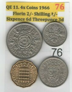 QE 11 4.COINS 1966 HALFCROWN 2/6 TO 6D  ITEM:76   WORLD CUP WINNING YEAR