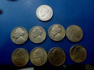 USA COIN LOT OF 5 CENTS 9PCS   T2263