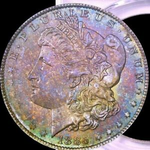 Click now to see the BUY IT NOW Price! 1885 O MORGAN SILVER DOLLAR PCGS MS63 STYLISH COLOR TONING & DESIGN