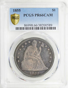 Click now to see the BUY IT NOW Price! 1855 LIBERTY SEATED S$1 PCGS PR 66 CAM