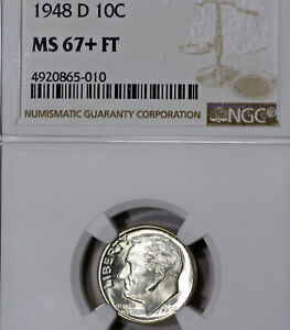 1948 D MS67  PLUS FT ROOSEVELT DIME 10C NGC GRADED FB FULL TORCH / BANDS