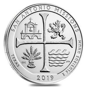 2019 5 OZ SILVER AMERICA THE BEAUTIFUL ATB TEXAS SAN ANTONIO MISSIONS NATIONAL