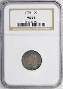 Click now to see the BUY IT NOW Price! 1798 DRAPED BUST 10C NGC MS 64