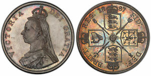Click now to see the BUY IT NOW Price! GR BRITAIN VICTORIA  1887 AR DOUBLE FLORIN. PCGS PR63. S 3923. DEEPLY TONED.