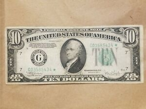 Click now to see the BUY IT NOW Price! 1934 C $10 FEDERAL RESERVE NOTE STAR NOTE CHICAGO FRN FR 2008 G  FINE VF