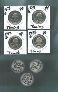 1973 1974 1977 1978 WASHINGTON QUARTER PROOFS 120 PROOF COINS FROM PROOF SETS