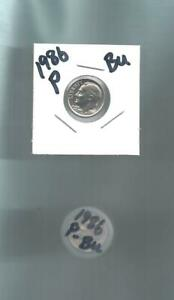 1986 P ROOSEVELT DIME ROLL   50  BU COINS FROM 1986 MINT SETS
