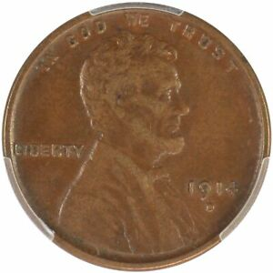 1914 D 1C LINCOLN CENT PCGS XF45BN