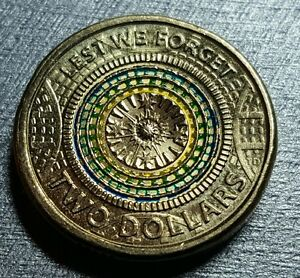 SPECIAL 2017 AUSTRALIAN LEST WE FORGET COLOURED COIN $2