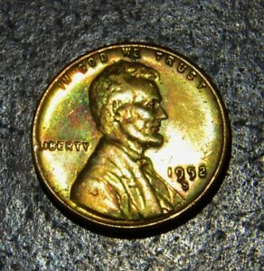 1952 S LINCOLN WHEAT CENT. BEAUTIFUL GOLD TONED BU W/ RED GREEN ORANGE  ETC.