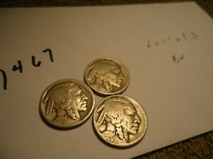 LOT  OF  3  BUFFALO  NICKELS    ADDED  ITEMS  SHIP  FREE  //  1467