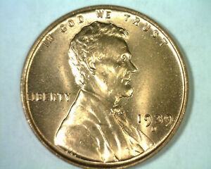 1939 D LINCOLN CENT PENNY GEM UNCIRCULATED RED GEM UNC. RD NICE ORIGINAL COIN