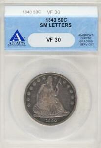 1840 SEATED LIBERTY HALF DOLLAR ANACS VF30 SMALL LETTERS   DOUBLEJCOINS  9977 03