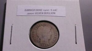 1900S 10C SILVER BARBER DIME AG