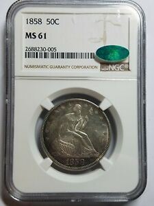 1858 SEATED LIBERTY HALF DOLLAR NGC MS61 CAC