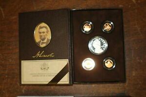 2009 U S MINT $1 LINCOLN COIN & CHRONICLES SILVER PROOF SET OF 5 IN BOX LOT 2