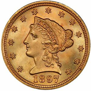 Click now to see the BUY IT NOW Price! 1897 $2.50 LIBERTY HEAD QUARTER EAGLE PCGS MS67  CAC