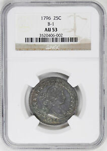 Click now to see the BUY IT NOW Price! 1796 DRAPED BUST 25C NGC AU 53