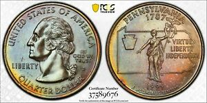 Click now to see the BUY IT NOW Price! 1999 D USA WASHINGTON QUARTER PENNSYLVANIA PCGS MS64 BU UNC GEM TONED COLOR  DR