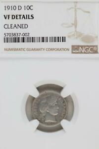 1910 D BARBER SILVER DIME VF DETAILS BY NGC    DOUBLEJCOINS  3004 31