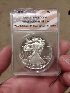 Click now to see the BUY IT NOW Price! 2009 PF68 DCAM WALKING LIBERTY OVERSTRIKE HALF DOLLAR | ANACS SILVER EAGLE
